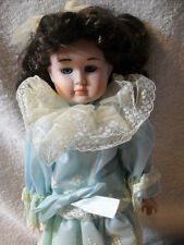 VINTAGE HAND MADE DOLL WITH PORCELAIN HEAD,ARMS, AND LEGS With Blue Dress