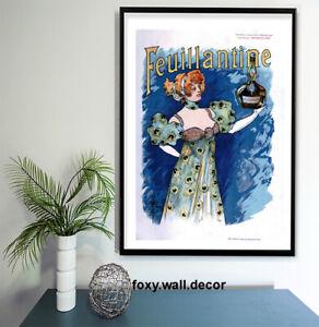 "Vintage print poster for glass frame 36"" x 24"" art advert  Champagne drink"