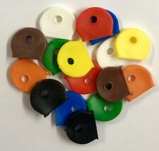 COLOUR KEY CAP COVERS TAGS ID MARKERS KEYRING MIXED COLOURS 1/2 MOON STYLE CAPS