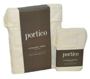 PORTICO Dobby Plaid Soft Cream QUEEN FITTED SHEET & PILLOWCASES ORGANIC COTTON