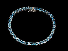 Sterling Silver Genuine Natural Swiss Blue Topas Bracelet 7.5 in NEW