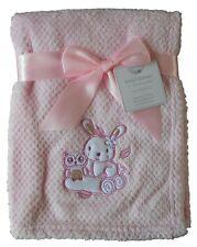 Baby Girls Cute Pink Bunny Rabbit & Owl Blanket Wrap 100cm x 75cm approx