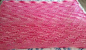 Hand Knitted Crochet Afghan Lap Blanket Crib NUrsery Throw Pink White  58 x 43