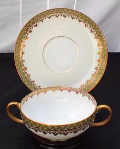 Antique CH FIELD HAVILAND LIMOGES France EMPIRE WREATH Pattern Soup Cup & Saucer