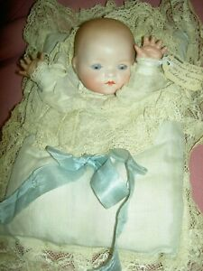 Antique Armand Marseille bisque head labeled TEE-WEE Kiddiejoy pillow baby doll
