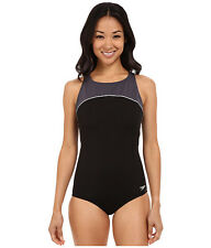 SPEEDO COLOR BLOCK HIGH ROUND NECK ONE PIECE SWIMSUIT BLACK GREY SZ 12 NEW! $88