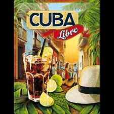 PLAQUE EN METAL EMAILLEE NEUVE 30 X 40 cm : COCKTAIL CUBA LIBRE