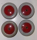 Four 4 VINTAGE MECCANO PLASTIC/TIN red/grey Road Wheels, part 187 VGC