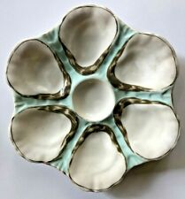 France~ LIMOGES ANTIQUE PORCALAIN 6 WELL OYSTER PLATE~circa 1880