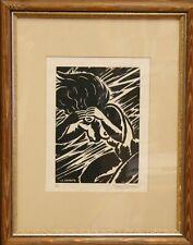 Frans Masereel: La Crainte. Signierter Original-Holzschnitt, gerahmt.