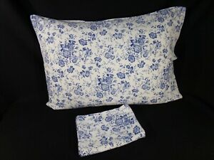 Two (2) Blue Ivory Soft Flannel Floral STANDARD PILLOWCASES Farmhouse Cottage