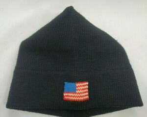 Vintage Wool Knit Beanie Ski Hat Winter Toq Cap Triangle American Flag USA Black