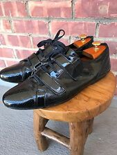 Men's ZARA patent Leather Shoes Double Strap Lace Up 45 / 11.5