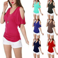 US Womens Summer Cold Shoulder Top Short Sleeve Blouse Casual Solid T Shirt