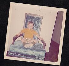 Vintage Photograph Cute Little Boy Sitting in Blue Velvet Chair in Living Room