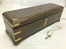OLD VINTAGE WOODEN BRASS FITTED MUGHAL   PEN BOX 3 COMPARTMENT WITH KEY
