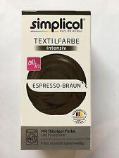 """Simplicol Textilfarbe intensiv all in 1 -Flüssige Rezeptur """"ESPRESSO-BRAUN Neu!"""