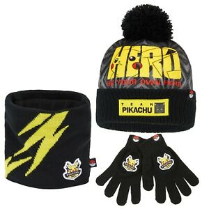Pokemon Hat, Gloves and Snood Set for Boys, Pikachu Team Gifts for Kids