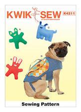 Kwik Sew K4211 patrón-Perro Juguetes Y Mochila-Totalmente Nuevo-tamaños XS-XL