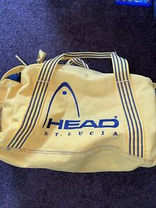 Rare Vintage 90s Head St Lucia Bright Yellow Sports Gym Travel Bag