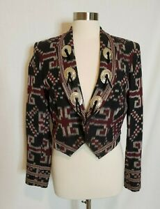 Womens Western Wear Blazer Jacket Southwest Print with Metal Conchos Equestrian