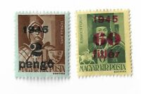 """Hungary Overprinted """"1945"""" and Surcharged postage stamps x 2"""