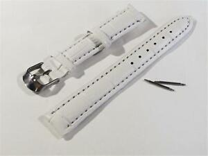 WS038 WHITE MOCK CROC. WATCH STRAP with SPARE LUGS - 16mm WIDE
