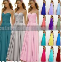Long Applique Chiffon Wedding Formal Party Ball Gown Prom Bridesmaid Dress 6 -18