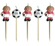 Soccer Boy Football Happy Birthday mini toothpick Candles - set of 5
