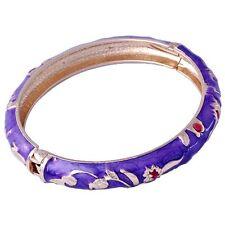 Womens cuff bracelet free shipping 18k Gold filled flower purple enamel bangle
