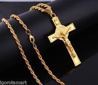 Gold Long Chain Jesus Trendy 18K Gold INRI Crucifix Plain Cross Necklace