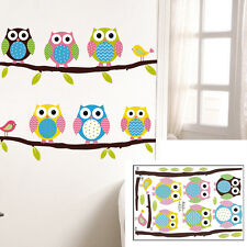 1 X Animal Cartoon Owl Tree Vinyl Wall Sticker for Kids Rooms Boys Girl Home SE