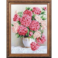 Beaded Embroidery Kit Peonies Beaded stitching Kit avec perle