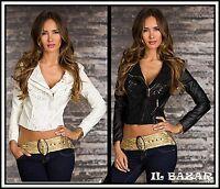 giacca donna bikerjacke/chiodo ricco ricamo pizzo similpelle 2 colori tg,S;M;L