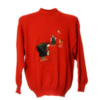 Vintage Golf Strickpullover Größe M Sweatshirt Rot Retro Stickerei Stehkragen