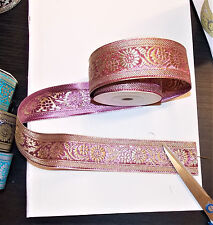 40mm light pink gold jacquard embroidered ribbon applique motif trimming decor