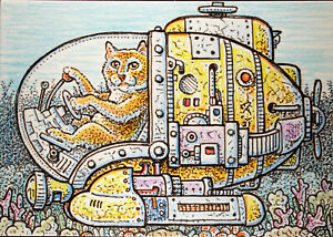 ACEO  Fantasy Original Cat in a Mini Sub