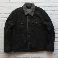 New Levis Type 3 Sherpa Lined Denim Trucker Jean Jacket Size L Black