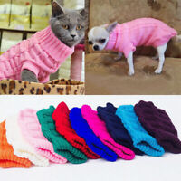 Small Dog Cable Knitted Jumper Knitwear Pet Clothes Chihuahua Puppy Cat Sweater