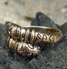 Drachenkopf Wikinger Ring Bronze Runen auki en eljan Gr. 52-60 od.16-19mm  KRAFT