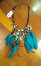 Authentic Betsey Johnson Jungle Fever Turquoise Feather Parrot Frog Necklace NWT