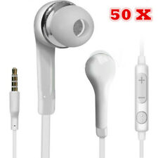 50 pcs Handsfree Wired Headphones Earphones Earbud with Mic-White For Samsung