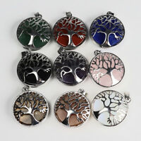 Natural Gemstones Round Tree of Life Reiki Chakra Silver Pendant for Necklace