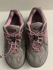 Girls Teva Pink Gray Waterproof Sneakers Size 3.5 Mesh Easy Toggle Lace-Up Shoe