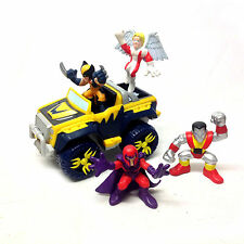 MARVEL COMICS SUPERHERO SQUAD Wolverine Jeep & X Men figures set , avengers RARE