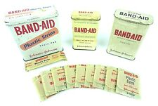 Vintage Johnson & Johnson BAND-AID Tin Advertising Container LOT with Bandages