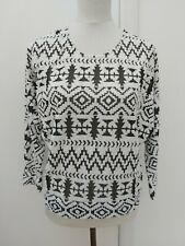 SELECT Size 8 Black White Aztec Slouch Tunic Top Batwing Texture Autumn Fashion