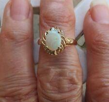 VTG 14k Yellow Gold Ring Fire Opal 6 Diamonds SZ 5.75 Band 3.25g 1.5 TCW Sign IK