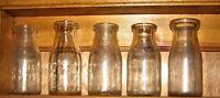 Vintage Lot of 1/2 Pint Glass Milk Bottles Assorted