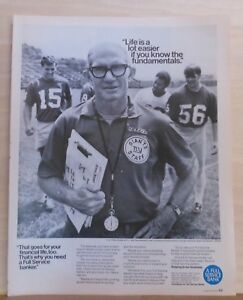 1970 magazine ad for Full Service Bank - Y.A. Tittle, NY Giants football coach